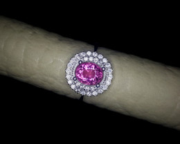 19.15 Crts Natural Tourmaline Ring In Rhodium Coated 92.5 Silver & CZ