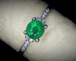 8.60 Crts Emerald Ring In Rhodium Coated 92.5 Silver & CZ