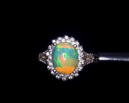 24.02 Crts Opal Ring In Rhodium Coated 92.5 Silver & CZ