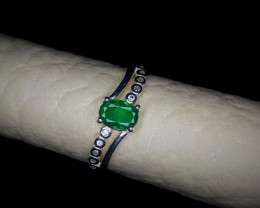10.35 Crts Natural Emerald Ring In Rhodium Coated 92.5 Silver & CZ