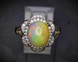 25.70 Crts Opal Ring In Rhodium Coated 92.5 Silver & CZ