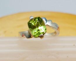 Natural Green Peridot Or Chrysolite Hand Made Ring