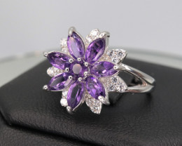 Fabulous Flower Shape Amethyst, CZ & 925 Fancy Sterling  Silver Ring