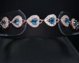 Stylish Design Natural Landon Topaz, CZ & 925 Rose Gold Fancy Silver Bracel