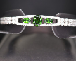 Natural Chrome Diopside, CZ & 925 Beautiful Silver Bracelet