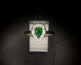 11.50 Crts Emerald Ring In Rhodium Coated 92.5 Silver & CZ