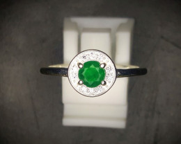 9.90 Crts Emerald Ring In Rhodium Coated 92.5 Silver & CZ