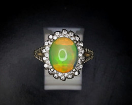 24.35 Crts Opal Ring In Rhodium Coated 92.5 Silver & CZ