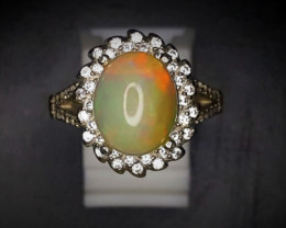 24.55 Crts Opal Ring In Rhodium Coated 92.5 Silver & CZ