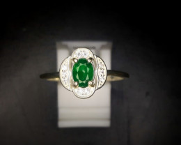 10 Crts Natural Emerald Ring In Rhodium Coated 92.5 Silver & CZ