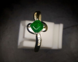 11.15 Crts Emerald Ring In Rhodium Coated 92.5 Silver & CZ
