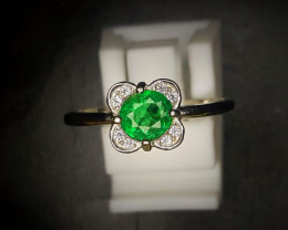8.85 Crts Emerald Ring In Rhodium Coated 92.5 Silver & CZ