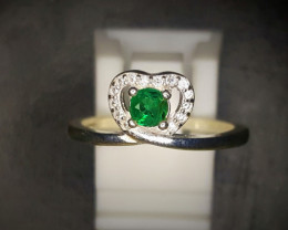 9.55 Crts Emerald Ring In Rhodium Coated 92.5 Silver & CZ