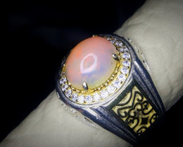 38.95 Crts Opal Ring In Rhodium Coated 92.5 Silver & CZ