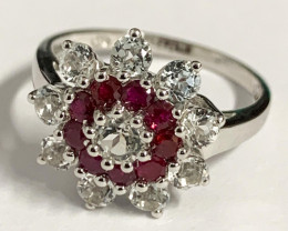 Stylish Natural Ruby And Topaz Ring ~ Silver