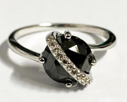 Stylish Natural Black Diamond And Topaz Ring ~ Silver