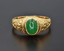 Natural Zambian Emerald  and 9K Gold Ring Unisex Design