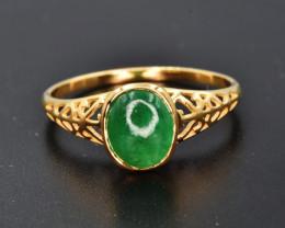 Natural Zambian Emerald and 9K Gold Ring
