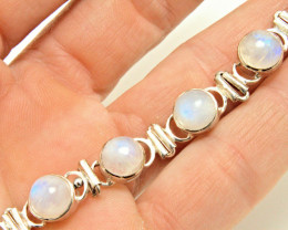 59.5 Tcw. Natural Moonstone Sterling Silver Bracelet - Gorgeous