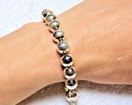 67.4 Grams  Heavy Sterling Silver Beaded Bracelet - Gorgeous