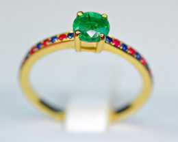 9k Yellow Gold ( Certified 0.47Ct Emerald ) ,Sapphire,Ruby Precious Ring