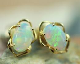 Cute Crystal  Opal set in 14k Yellow Gold Earring CK 506