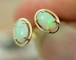 Cute Crystal  Opal set in 14k Yellow Gold Earring CK 510