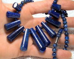 375.5 Tcw. Afghan Lapis Lazuli Graduated Fan Necklace - Gorge