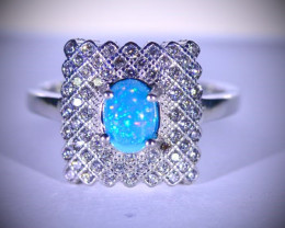 Blue Opal .80ct Platinum Finish Solid 925 Sterling Silver Ring
