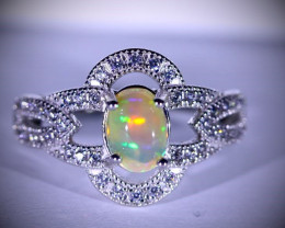 Precious Opal 1.40ct Platinum Finish Solid 925 Sterling Silver Solitaire Ri