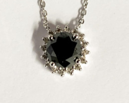 Natural Black Diamond  And Topaz ~ Silver Necklace
