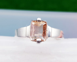 Natural Champagne Topaz Hand Made Silver Ring