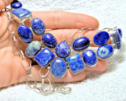 456.5 Tcw. Lapis Lazuli, Silver Necklace - Gorgeous