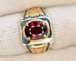 Unique Design 62.0 Ct Silver Ring ~ With Mahenge Garnet Stone