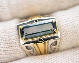 Unique Design 29.80 Ct Silver Ring ~ With Indicolite Tourmalne
