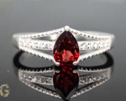 Unique Design 10.85  Ct Silver Ring ~ With  Garnet Stone