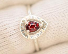 Unique Design 9.65 Ct Silver Ring ~ With Spassertite Garnet Stone