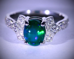 Black Opal 1.75ct Platinum Finish Solid 925 Sterling Silver Ring