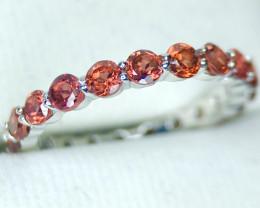 Stunning Orangish Garnet 925 Sterling Band Ring
