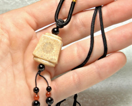 63.5 Tcw, Chrysanthemum Coral Fossil Teardrop Necklace - Gorgeous