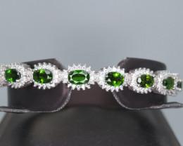 Natural Chrome Diopside, CZ & 925 Beautiful Silver Bangle Bracelet