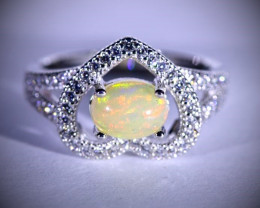 Opal 1.34ct Platinum Finish Solid 925 Sterling Silver Ring