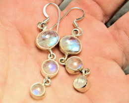30.0 Tcw. Rainbow Indian Moonstone Sterling Silver Earrings - Gorgeous