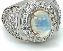 Moonstone 3.20ct Platinum Finish Solid 925 Sterling Silver Ring