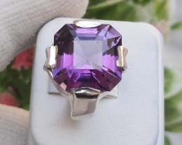 9.80 carats Natural Amethyst Aacher Cut 925 Silver Ring