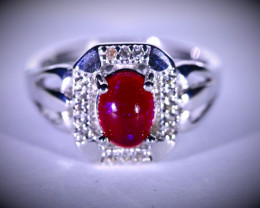 Red Opal 1.56ct Platinum Finish Solid 925 Sterling Silver Ring