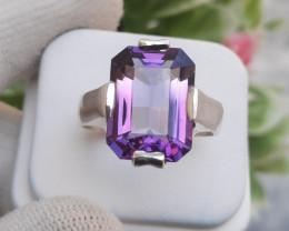 9.25 carats Natural Amethyst Emerald Cut 925 Silver Ring