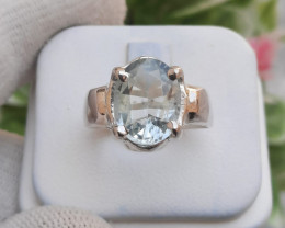 4.70 carats Natural Aquamarine 925 Silver Ring