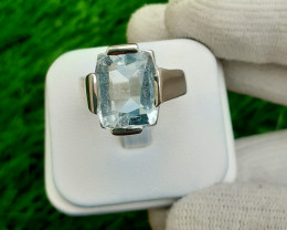 6.95 Carats Natural Aquamarin 925 Silver Ring