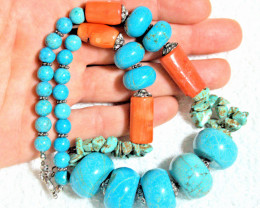 601.5 Tcw. Howlite / Red Coral Necklace  - Gorgeous